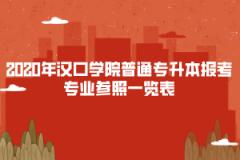 2020年汉口学院普通专升本报考专业参照一览表