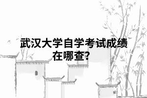 武汉大学自学考试成绩在哪查?