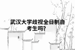 武汉大学歧视全日制自考生吗