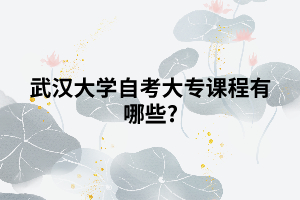 武汉大学自考大专课程有哪些?