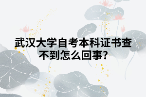 武汉大学自考本科证书查不到怎么回事?