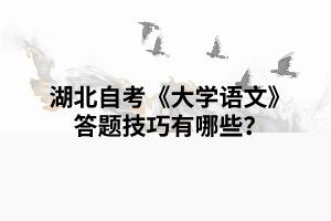 湖北自考《大学语文》复习备考答题技巧有哪些?
