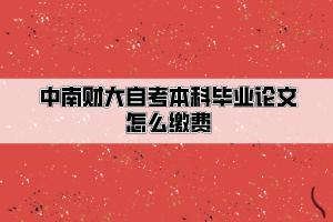 中南财经政法大学自考本科毕业论文怎么缴费
