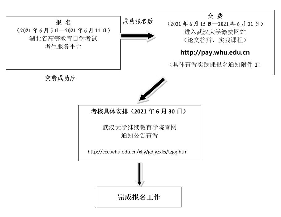 武汉大学自考实践考核流程图