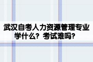 武汉自考人力资源管理专业学什么?考试难吗?