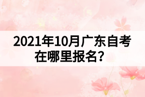 2021年10月广东自考在哪里报名?