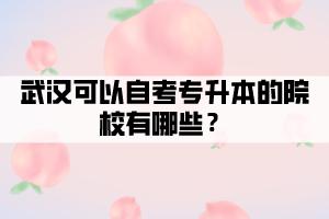 武汉可以自考专升本的院校有哪些?