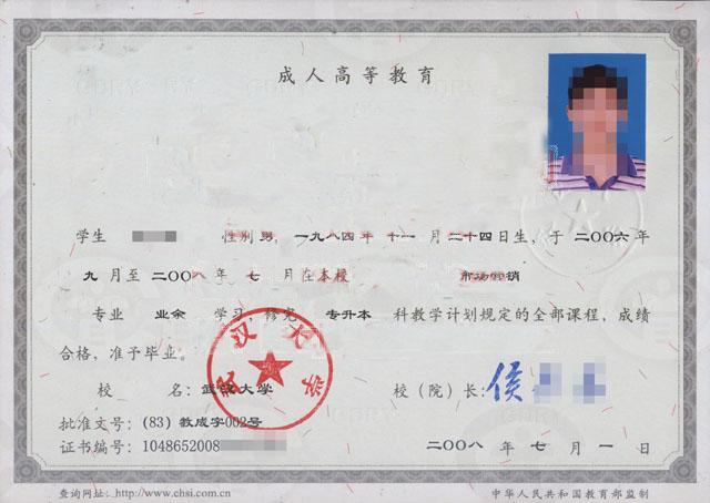 武汉大学成教本科毕业证样本