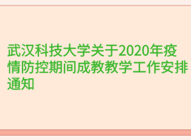 武汉科技大学关于2020年疫情防控期间成教教学工作安排通知