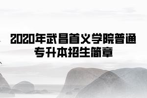 2020年武昌首义学院普通专升本招生简章