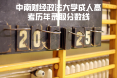 中南财经政法大学成人高考历年录取分数线