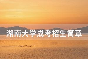 2020年湖南大学成人高考招生简章