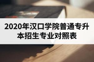 2020年汉口学院普通专升本招生专业对照表