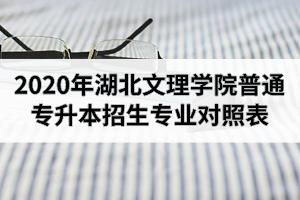 2020年湖北文理学院普通专升本招生专业对照表