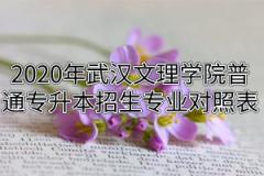 2020年武汉文理学院普通专升本招生专业报考范围