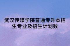 2021年武汉传媒学院普通专升本招生专业及招生计划数