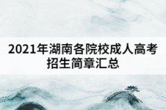 <b>2021年湖南各院校成人高考招生简章汇总</b>