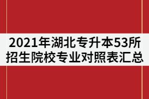2021年湖北普通专升本53所招生院校《专业对照表》汇总
