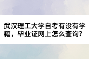 武汉理工大学自考有没有学籍,毕业证网上怎么查询?